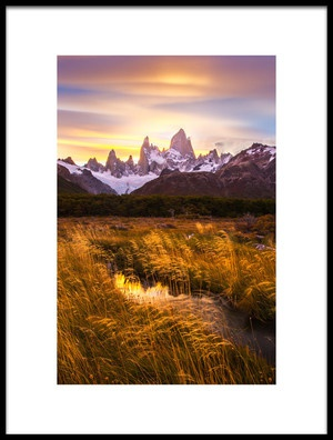 Buy this art print titled Mt Fitz Roy at Golden Hour by the artist Dianne Mao