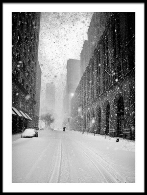Art print titled New York Walker In Blizzard by the artist Martin Froyda