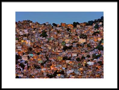 Buy this art print titled Nightfall In the Favela Da Rocinha by the artist Adelino Alves