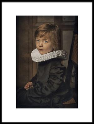 Art print titled Old Fashion Little Boy by the artist Carola Kayen-Mouthaan