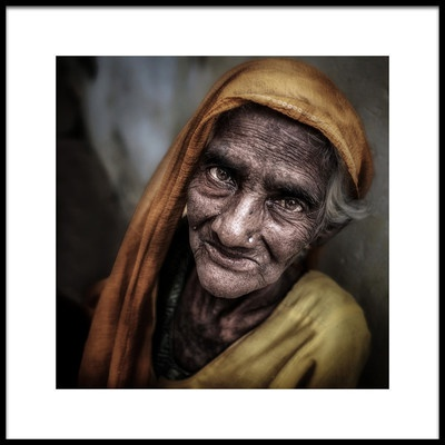 Art print titled Old Woman Portrait, Varanasi by the artist Massimo Cuomo