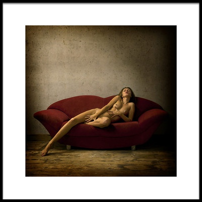 Art print titled On the Red Sofa Masha by the artist Marc Meyer