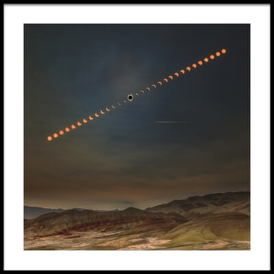Buy this art print titled Painted Hills With Solar Eclipse by the artist Wenjie Qiao