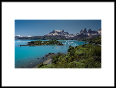 Art print titled Pehoe Lake by the artist Claudio Spinelli