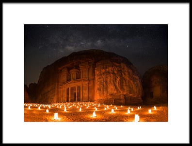 Art print titled Petra by Night by the artist khalid jamal