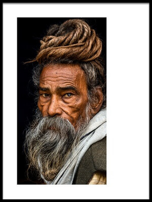 Art print titled Portrait of a Sadhu by the artist Rakesh J.V