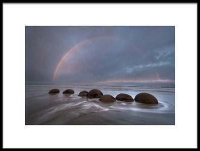 Art print titled Rainbow at Moeraki Boulders by the artist Jianyi Wu