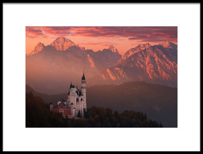 Art print titled Red Morning Above the Castle by the artist Daniel Řeřicha