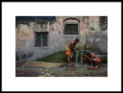 Art print titled Roadside Bath by the artist Sudipto Kumar Ghosh