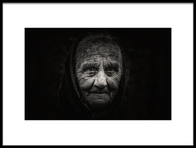 Art print titled Romania Portrait BW by the artist Rabia Basha