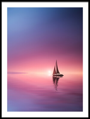 Art print titled Sailing Across the Lake Toward the Sunset by the artist Bess Hamiti