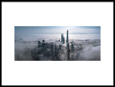 Art print titled Shanghai In the Fog from Above by the artist Stan Huang