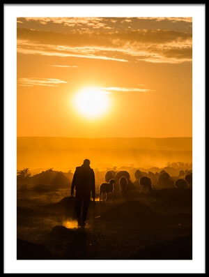 Art print titled Shepherd and Herd by the artist yasarmetin