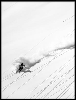 Art print titled Skiing Powder by the artist Lorenzo Rieg