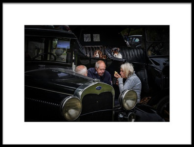 Art print titled Snack Between Oldsmobiles by the artist robert semnic