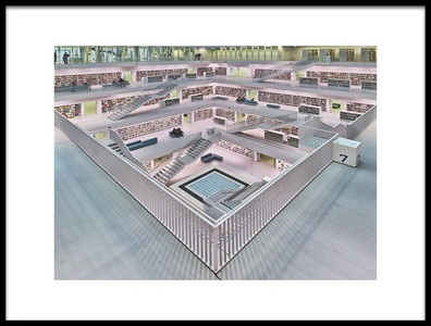 Art print titled Stadtbibliothek Stuttgart Inner Space I by the artist Rolf Mauer