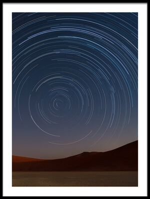 Buy this art print titled Star Trails of Namibia by the artist Karen Deakin