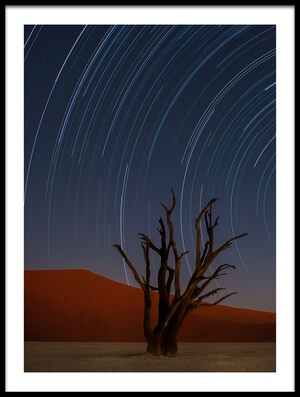 Buy this art print titled Star Trails of Namibia II by the artist Karen Deakin