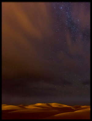 Buy this art print titled Stars, Dunes and Clouds In Marzuga Desert by the artist Tristan Shu