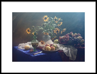 Art print titled Still Life In Yellowblue Tones by the artist UstinaGreen