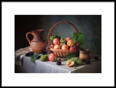 Art print titled Still Life With a Basket of Fruit by the artist Tatyana Skorokhod (Татьяна Скороход)