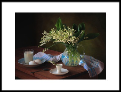 Art print titled Still Life With a Bouquet of Lilies of the Valley by the artist Tatyana Skorokhod (Татьяна Скороход)