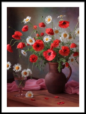 Art print titled Still Life With a Bouquet of Poppies and Chamomile by the artist Tatyana Skorokhod (Татьяна Скороход)