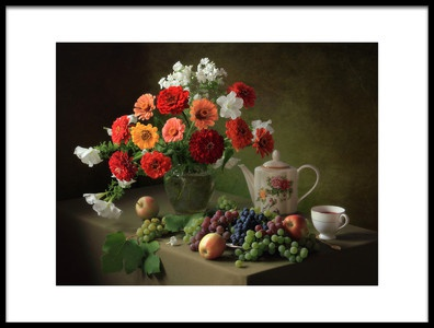 Art print titled Still Life With a Bouquet of Zinnias and Fruit by the artist Tatyana Skorokhod (Татьяна Скороход)