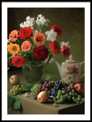 Art print titled Still Life With a Bouquet of Zinnias and Fruit by the artist Tatyana Skorokhod (Татьяна Скороход)