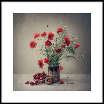 Art print titled Still Life With a Strawberry and Poppies by the artist Dimitar Lazarov - Dim