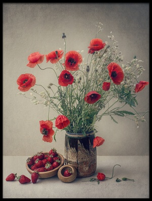 Buy this art print titled Still Life With a Strawberry and Poppies by the artist Dimitar Lazarov - Dim