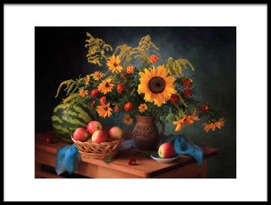 Art print titled Still Life With Apples and Bouquet by the artist Tatyana Skorokhod (Татьяна Скороход)