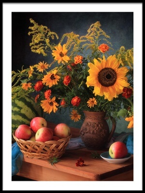 Buy this art print titled Still Life With Apples and Bouquet by the artist Tatyana Skorokhod (Татьяна Скороход)