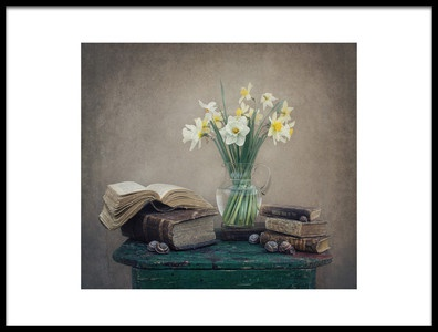 Art print titled Still Life With Daffodils, Old Books and Snails by the artist Dimitar Lazarov - Dim