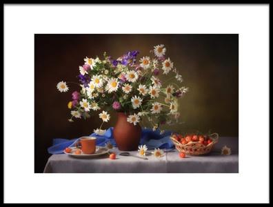 Art print titled Still Life With Daisies and Cherries by the artist Tatyana Skorokhod (Татьяна Скороход)