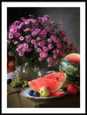 Art print titled Still Life With Flowers and Fruit by the artist Tatyana Skorokhod (Татьяна Скороход)