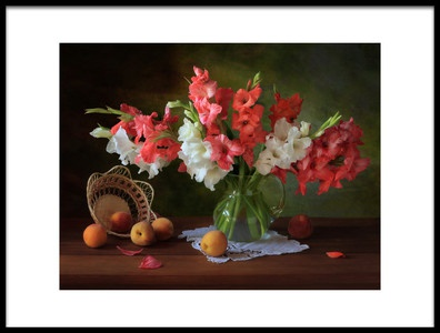 Art print titled Still Life With Gladioli and Peaches by the artist Tatyana Skorokhod (Татьяна Скороход)