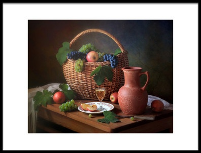 Art print titled Still Life With Grapes by the artist Tatyana Skorokhod (Татьяна Скороход)
