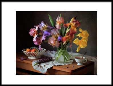 Art print titled Still Life With Irises and Apples by the artist Tatyana Skorokhod (Татьяна Скороход)