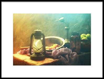 Buy this art print titled Still Life With Lamp and Fruits by the artist UstinaGreen