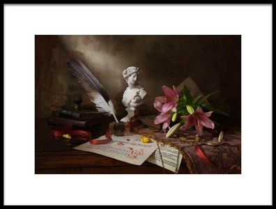 Art print titled Still Life With Lily and Bust by the artist Andrey Morozov