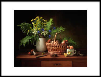 Art print titled Still Life With Mushrooms and Bouquet by the artist Tatyana Skorokhod (Татьяна Скороход)