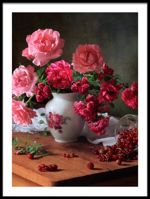 Buy this art print titled Still Life With Roses and Berries by the artist Tatyana Skorokhod (Татьяна Скороход)