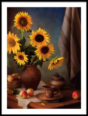 Buy this art print titled Still Life With Sunflowers and Apples by the artist Tatyana Skorokhod (Татьяна Скороход)