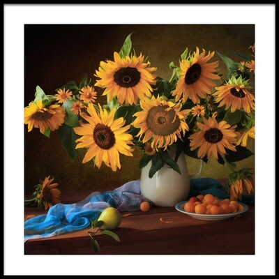 Art print titled Still Life With Sunflowers and Yellow Plums by the artist Tatyana Skorokhod (Татьяна Скороход)