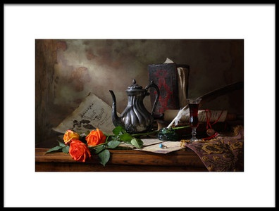 Art print titled Still Life With Teapot and Roses by the artist Andrey Morozov