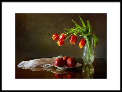 Art print titled Still Life With Tulips and Pomegranates by the artist Tatyana Skorokhod (Татьяна Скороход)