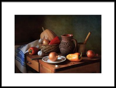Art print titled Still Life With Vegetables by the artist Tatyana Skorokhod (Татьяна Скороход)