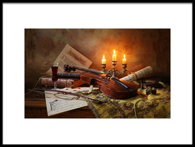 Art print titled Still Life With Violin and Candles by the artist Andrey Morozov