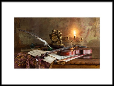 Art print titled Still Life With Violin and Clock by the artist Andrey Morozov